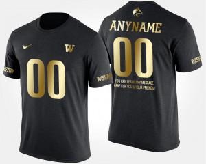 Washington Huskies Custom T-Shirt #00 Short Sleeve With Message Gold Limited For Men Black