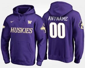 Washington Huskies Customized Hoodie Men's #00 Purple