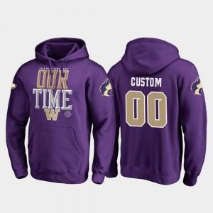 Washington Huskies Customized Hoodies Men Purple #00 Counter 2019 Rose Bowl Bound