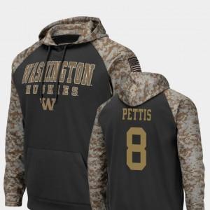 Washington Huskies Dante Pettis Hoodie For Men's #8 Charcoal Colosseum Football United We Stand