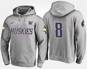 Washington Huskies Dante Pettis Hoodie Mens Gray #8