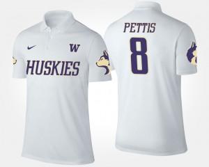 Washington Huskies Dante Pettis Polo White #8 For Men's