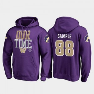 Washington Huskies Drew Sample Hoodie Men Purple Counter #88 2019 Rose Bowl Bound