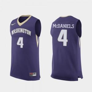 Washington Huskies Jaden McDaniels Jersey Replica For Men's #4 Purple College Basketball