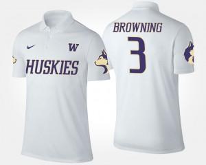 Washington Huskies Jake Browning Polo For Men's #3 White