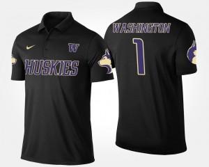 Washington Huskies Polo Black No.1 Short Sleeve For Men's #1