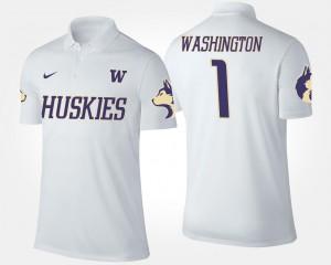 Washington Huskies Polo No.1 Short Sleeve White For Men's #1