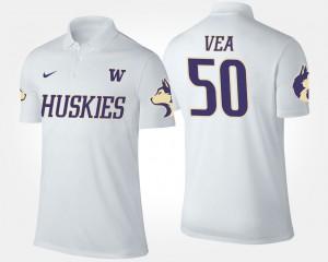 Washington Huskies Vita Vea Polo #50 White For Men