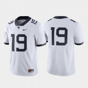 West Virginia Mountaineers Jersey White Game Football #19 Men