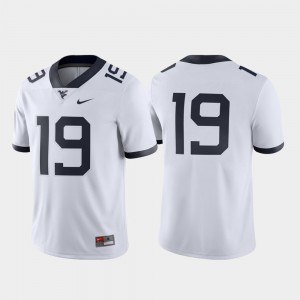 West Virginia Mountaineers Jersey White Mens #19 Game