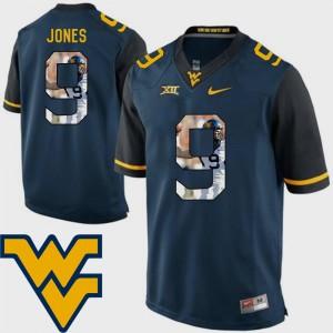 West Virginia Mountaineers Adam Jones Jersey Pictorial Fashion #9 Men Football Navy