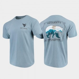 West Virginia Mountaineers T-Shirt State Scenery Comfort Colors Blue For Men's