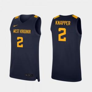 West Virginia Mountaineers Brandon Knapper Jersey College Basketball Replica Navy #2 Men's