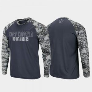 West Virginia Mountaineers T-Shirt OHT Military Appreciation Raglan Long Sleeve Digi Camo Charcoal Camo Mens
