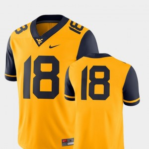 West Virginia Mountaineers Jersey For Men's College Football Gold #18 2018 Game