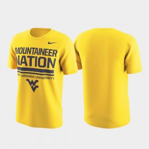 West Virginia Mountaineers T-Shirt Mens Performance Local Verbiage Gold