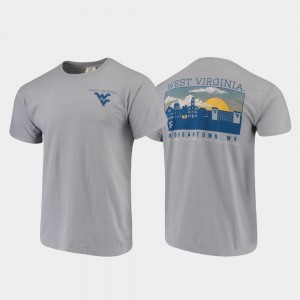 West Virginia Mountaineers T-Shirt Comfort Colors Campus Scenery For Men's Gray
