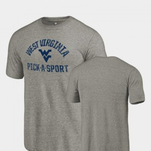 West Virginia Mountaineers T-Shirt For Men Pick-A-Sport Tri-Blend Distressed Gray