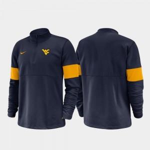 West Virginia Mountaineers Jacket For Men's 2019 Coaches Sideline Half-Zip Performance Navy