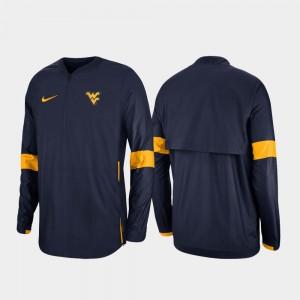 West Virginia Mountaineers Jacket 2019 Coaches Sideline Quarter-Zip For Men's Navy