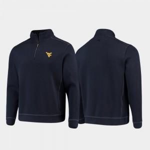 West Virginia Mountaineers Jacket Navy College Sport Nassau For Men Half-Zip Pullover Tommy Bahama