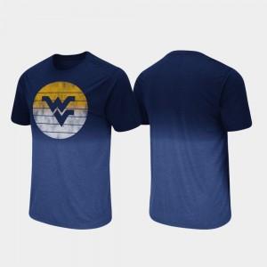 West Virginia Mountaineers T-Shirt Fancy Walking Dip Dye Navy For Men's