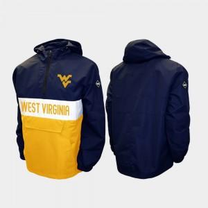 West Virginia Mountaineers Jacket Men's Alpha Anorak Pullover Half-Zip Navy