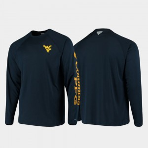 West Virginia Mountaineers T-Shirt PFG Terminal Tackle Long Sleeve Navy For Men's Omni-Shade