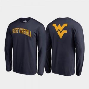 West Virginia Mountaineers T-Shirt Long Sleeve Primetime Navy For Men's