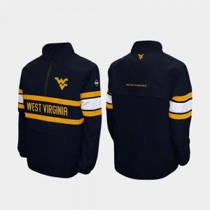 West Virginia Mountaineers Jacket Quarter-Zip Alpha Windshell Pullover Navy For Men's