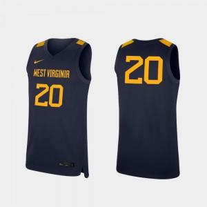 West Virginia Mountaineers Jersey #20 Replica College Basketball Mens Navy