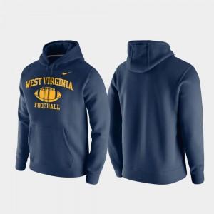 West Virginia Mountaineers Hoodie Navy Retro Football Men Club Fleece