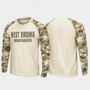 West Virginia Mountaineers T-Shirt OHT Military Appreciation Raglan Long Sleeve Desert Camo Oatmeal Men
