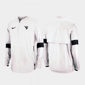 West Virginia Mountaineers Jacket Men 2019 Coaches Sideline White Quarter-Zip