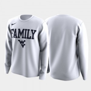West Virginia Mountaineers T-Shirt Family on Court March Madness Legend Basketball Long Sleeve White For Men's