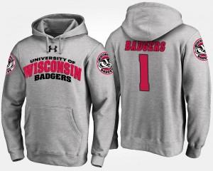Wisconsin Badgers Hoodie For Men Gray No.1 #1