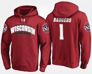 Wisconsin Badgers Hoodie For Men Red #1 No.1