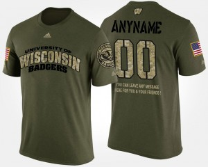 Wisconsin Badgers Customized T-Shirts Military Camo Short Sleeve With Message Mens #00