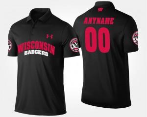 Wisconsin Badgers Custom Polo Mens #00 Black