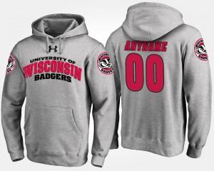 Wisconsin Badgers Customized Hoodie Gray For Men #00