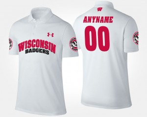 Wisconsin Badgers Customized Polo Mens White #00