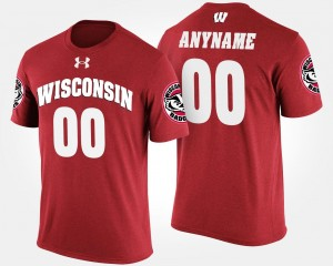 Wisconsin Badgers Custom T-Shirts Red #00 Men's