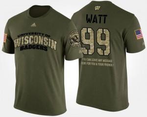 Wisconsin Badgers J.J. Watt T-Shirt For Men Military Camo #99 Short Sleeve With Message
