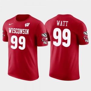 Wisconsin Badgers J.J. Watt T-Shirt Houston Texans Football Men #99 Future Stars Red