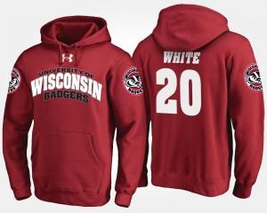 Wisconsin Badgers James White Hoodie Red #20 Mens