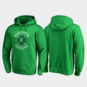 Wisconsin Badgers Hoodie For Men St. Patrick's Day Luck Tradition Kelly Green