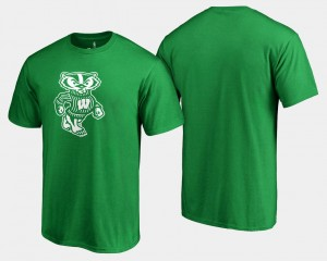Wisconsin Badgers T-Shirt St. Patrick's Day White Logo Big & Tall Kelly Green Mens