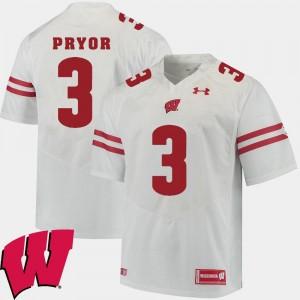 Wisconsin Badgers Kendric Pryor Jersey #3 For Men's Alumni Football Game White 2018 NCAA
