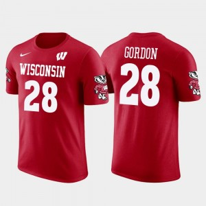 Wisconsin Badgers Melvin Gordon T-Shirt #28 Future Stars Red Los Angeles Chargers Football Men's