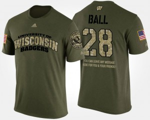 Wisconsin Badgers Montee Ball T-Shirt Military Mens Short Sleeve With Message #28 Camo